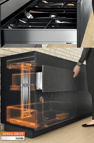 Sistema automático SERVODRIVE® de abertura e fechamento de gavetas.